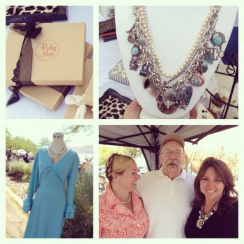 My dad stopped by to see his girls. Jen had her vintagebyjen booth next door. This necklace sold to Claire.