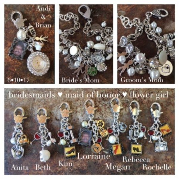 Bride Andreja wanted personalized gifts for her wedding attendants, her mom and Brians's moms.