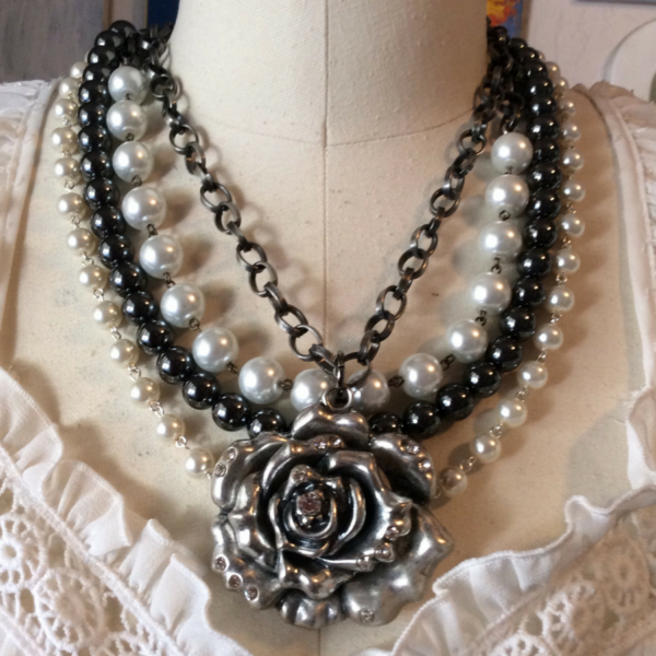 Black Rose Beaded Bib Necklace