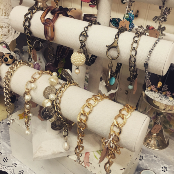 Bracelets on display at Sweet Salvage