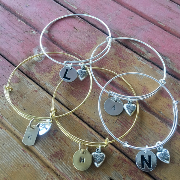 Initial Bangles chosen for Christmas gifts